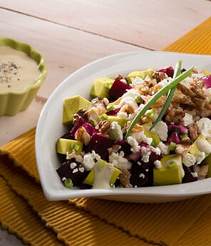 Beet, Avocado, Queso Fresco and Walnut Salad
