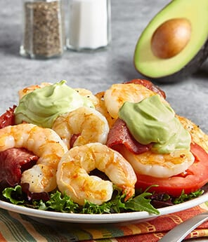 Grilled Prawn Salad with Tomatoes & Avocado Aioli
