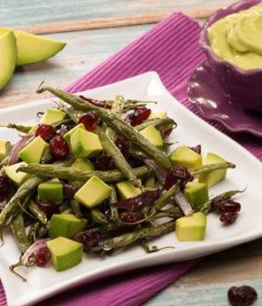 Roasted Green Bean Medley with Avocado Vinaigrette