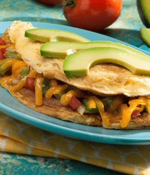 Mexican Omelet with Tomato and Avocado Salsa