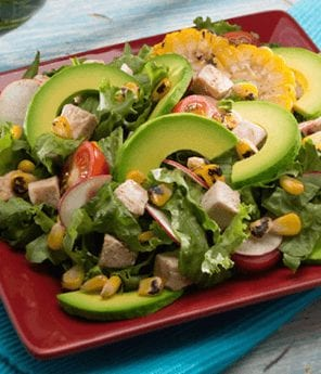 Spicy Roasted Corn, Avocado, and Chicken Salad