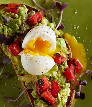 Avocado Toast with Red Pepper Flakes and Eggs
