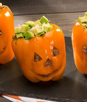 Halloween Taco Stuffed Pepper-Pumpkins
