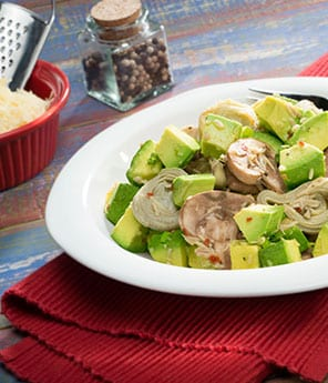 Avocado, Artichoke Hearts and Mushroom Salad with Parmesan Vinaigrette