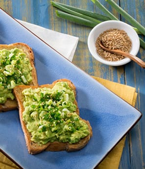 Avocado Toast with Scallion, Sesame, and Chile Garnish