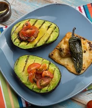 Grilled Avocado Halves with Chiles and Cheese