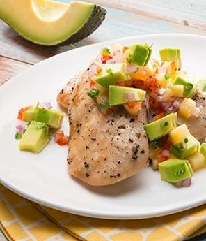 Baked Chicken with Avocado Peach Relish