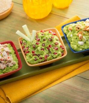 Guacamole Three Ways: Lump Crab, Queso Fresco, Pomegranate