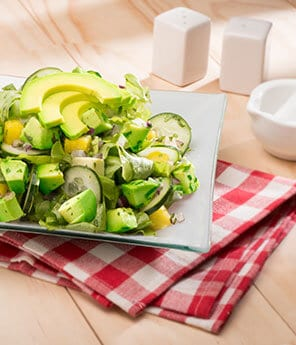 Pineapple, Cucumber, Avocado Salad with Cilantro Dressing