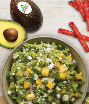 Mango and Tomatillo Guacamole with Queso Fresco