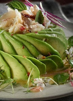 Avocado Rose With Crab And Basil