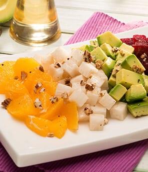 Avocado, Jicama, Beet, Orange, and Caramelized Pecan Salad