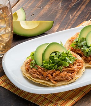 Chicken Tinga and Avocado Tostadas