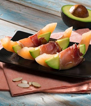 Cantaloupe with Avocado and Prosciutto