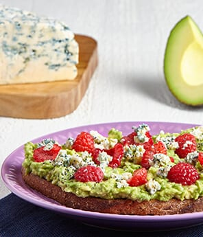 Raspberry and Blue Cheese Avocado Toast