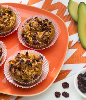 Pumpkin Cranberry Avocado Muffins