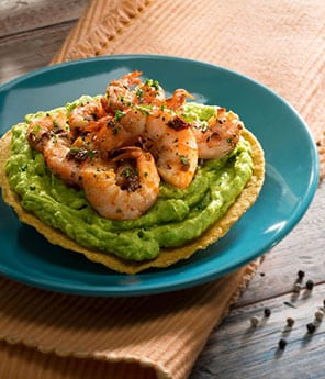 Tostada with Guacamole and Chipotle Shrimp