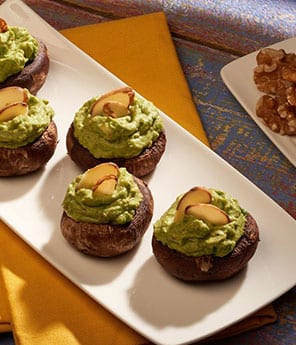Avocado & Spinach Stuffed Mushroom Bites
