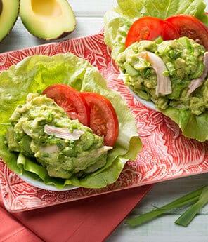 Zesty Avocado Chicken Salad in Lettuce Cups