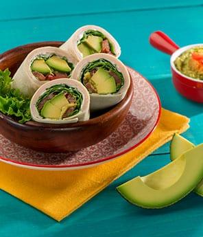 Turkey Avocado Wrap & Roasted Red Pepper Avocado Hummus