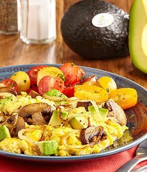 Avocado, Mushroom and Caramelized Onion Scramble