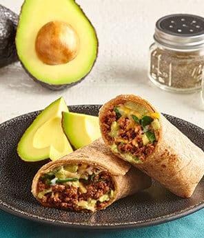 Chorizo Burrito with Avocado-Tomatillo Salsa