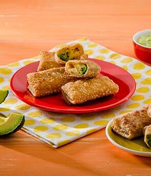 Avocado and Cheese Wonton Flautas
