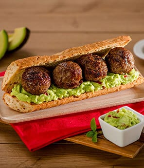 Meatball Sandwiches with Avocado-Chipotle Mayonnaise