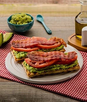 Avocado, Turkey Bacon and Tomato Toasts