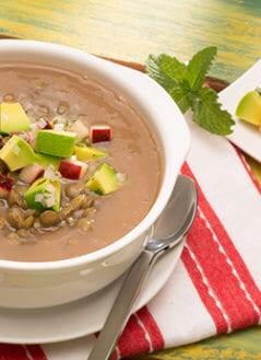 Lentil Apple Avocado Soup