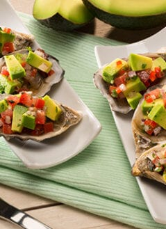 Oysters with Tomato, Chili Sauce and Avocado