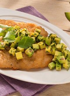 Breaded Fish with Avocado Salsa