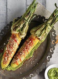 Cilantro-Lime Avocado Crema with Elotes