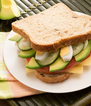 Egg, Cucumber Avocado Sandwich