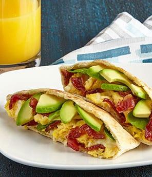 Breakfast Pita with Bacon, Avocado and Jack Cheese