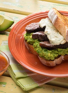 Spicy Steak n' Guac Sandwiches on Garlic Texas Toast