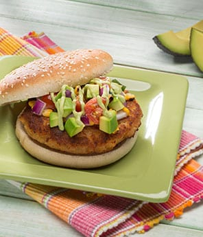 Spicy Shrimp Burgers with Charred Corn and Avocado Relish and Citrus Avocado Aioli
