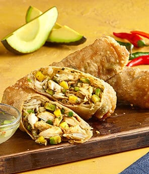 Avocado Mango and Crab Egg Rolls with Avo Nuoc Cham