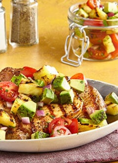 Sweet Pork Chops with Grilled Pineapple-Avocado Salsa