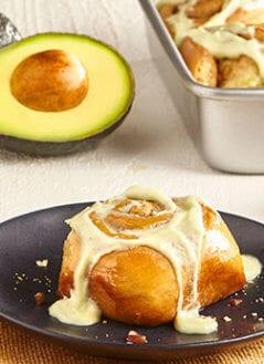 Quick Cinnamon Rolls with Maple Avocado Cream Cheese Frosting