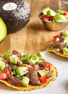 Achiote Short Rib Tostada with Avocado Salpicon