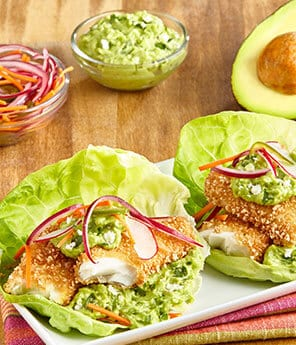 Baja-Style Lettuce Fish Tacos with Tangy Guac Sauce & Spicy Escabeche Veggies
