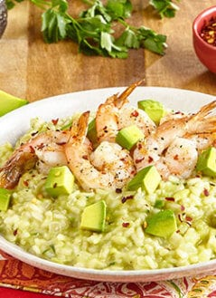 Cheesy Avocado Risotto with Shrimp