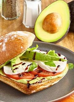 Fresh Caprese Sandwich with Avocado Citrus Basil Mousse