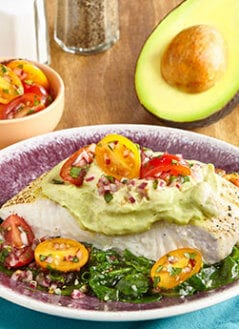 Halibut with Avo-Cumin Crema, Simple Salsa & Garlicky Greens