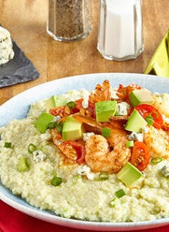 Shrimp with Avocado Blue Cheese Grits