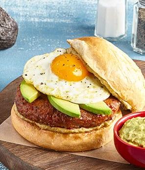 Chorizo Breakfast Burger with Runny Egg and Avocado Ketchup