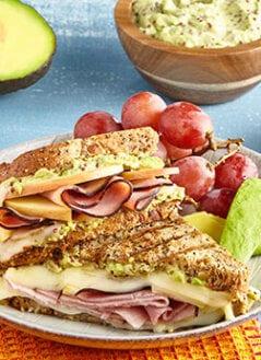Ham & Swiss Panini with Apples, Honey & Avocado-Mustard Spread