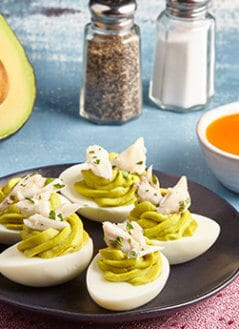 Avocado Deviled Eggs- Lump Crab