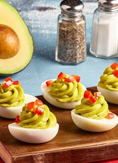 Avocado Deviled Eggs- Red Pepper